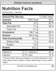 Chicken huevos rancheros nutrition information panel