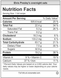 Elvis Presley's overnight oats nutrition information panel