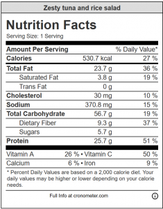 Zesty tuna and rice salad nutrition information panel