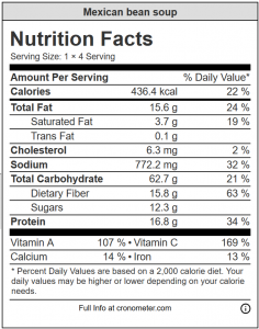 nutrition information panel of mexican bean soup